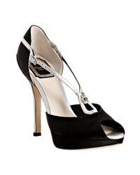 Dior | Black Satin Lily Charm Peep Toe Pumps | Lyst