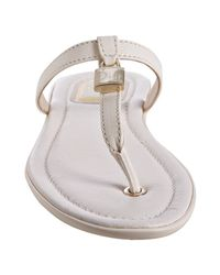Dior - White Ivory Calfskin Padlock Thong Sandals - Lyst