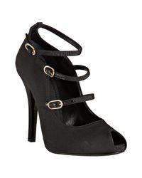 Dolce & Gabbana | Black Grosgrain Strappy Peep Toe Pumps | Lyst