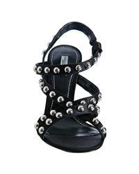 Dolce & Gabbana | Black Satin Studded Strap Sandals | Lyst