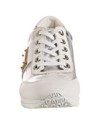 Dolce & Gabbana | Metallic Silver Leather Lace-up Wedge Sneakers | Lyst