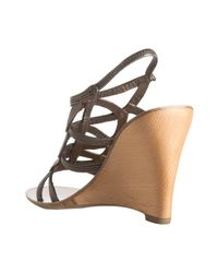 Elie Tahari - Black Old Gold Leather Carmella Wedge Sandals - Lyst