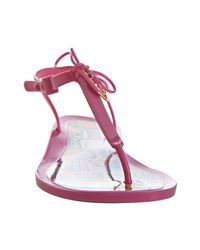 Fendi - Hot Pink Rubber Logo Disc Thong Sandals - Lyst
