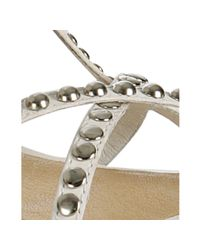 Frye - White Studded Leather Morgot Sandals - Lyst
