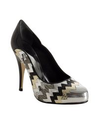 Giuseppe Zanotti | Black Patent Zigzag Metallic Peep Toe Pumps | Lyst