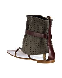Giuseppe Zanotti - Green Olive Canvas Rock Studded Ankle Wrap Sandals - Lyst