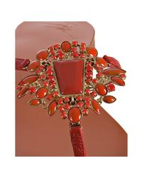 Giuseppe Zanotti - Red Leather Stone Detail Thong Sandals - Lyst