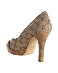 Gucci - Natural Beige Gg Canvas Hollywood Platform Peep Toe Pumps - Lyst