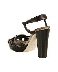 Gucci | Brown Leather Tribeca Platform Sandals | Lyst