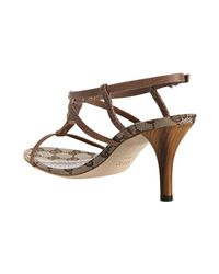 Gucci | Light Brown Leather Bamboo Icon T-strap Sandals | Lyst