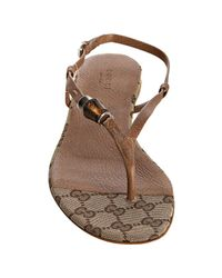 Gucci | Light Brown Leather Bamboo Icon Thong Sandals | Lyst
