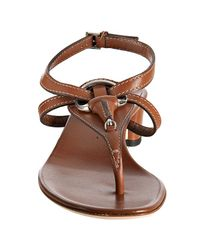 Gucci - Light Brown Leather Icon Bit Thong Sandals - Lyst