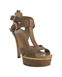 Gucci | Natural Pebble Leather Iman Platform Sandals | Lyst