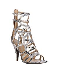 Jeffrey Campbell | White Ivory Python Print Web Sandals | Lyst