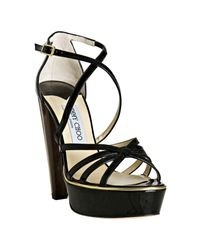 Jimmy Choo | Black Patent Leather Zena Platform Sandals | Lyst