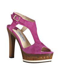 Jimmy Choo | Pink Fuchsia Suede Nixon Platform Sandals | Lyst