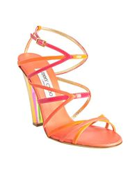 Jimmy Choo | Hot Pink Strappy Leather Poppy Sandals | Lyst