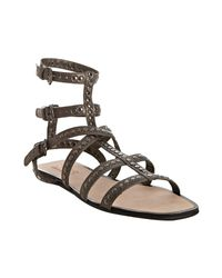Kors by Michael Kors | Metallic Gunmetal Studded Leather Yes Gladiator Sandals | Lyst