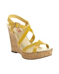 Kors by Michael Kors | Yellow Sunshine Leather Valley Cork Wedges | Lyst