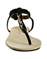 Lanvin - Black Suede Chain Detail Thong Sandals - Lyst