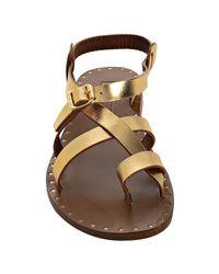 Michael Kors - Metallic Gold Leather Capricorn Sandals - Lyst