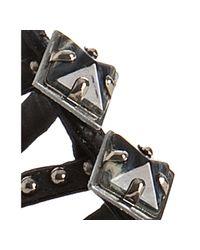 Miu Miu - Black Leather Jeweled Studded Flat Sandals - Lyst