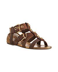 Miu Miu | Brown Leather Studded Gladiator Sandals | Lyst
