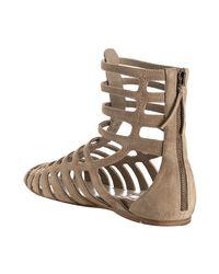 Miu Miu | Natural Desert Suede Gladiator Sandals | Lyst