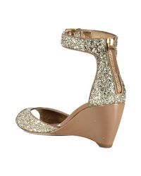 Miu Miu - Metallic Camel Glitter Patent Ankle Strap Wedges - Lyst
