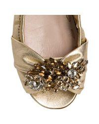 Miu Miu - Metallic Gold Leather Jeweled Peep Toe Flats - Lyst