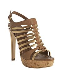 Miu Miu | Metallic Gold Strappy Leather Platform Sandals | Lyst