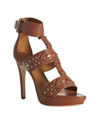 Pour La Victoire | Brown Whiskey Studded Leather Kira Platform Sandals | Lyst