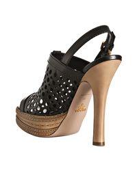 Prada - Black Cut-out Leather Platform Slingbacks - Lyst
