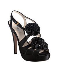 Prada | Black Satin Sequin Rosette Platform Sandals | Lyst