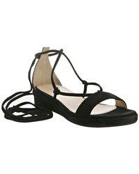 Prada - Black Suede Ankle Wrap Sandals - Lyst
