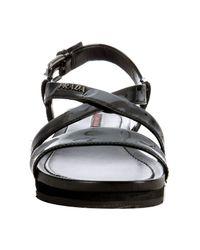 Prada - Sport Black Patent Leather Wedge Lug Sandals - Lyst