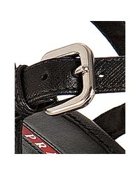 Prada   Sport Black Saffiano Espadrille Wedges   Lyst