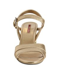 Prada - Metallic Sport Gold Saffiano Leather Buckle Sandals - Lyst