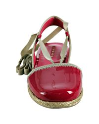 Prada - Red Hibiscus Patent Leather Ankle Wrap Espadrilles - Lyst