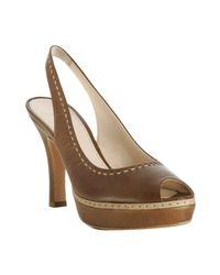 Prada | Brown Oak Leather Peep Toe Slingback Pumps | Lyst