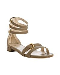 Prada | Natural Stone Leather Triple Ankle Strap Sandals | Lyst