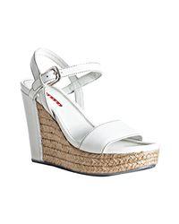 Prada - Sport White Saffiano Espadrille Wedges - Lyst
