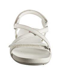 Prada - Sport White Saffiano Leather Sandals - Lyst