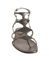 Sergio Rossi - Gray Grey Leather Cut Out Gladiator Sandals - Lyst