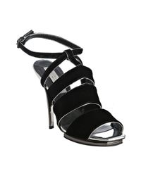 Stella McCartney | Black Velour Tess Sandals | Lyst