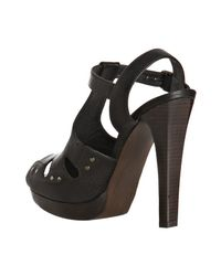 Stuart Weitzman - Black Leather Teasdale T-strap Platform Sandals - Lyst