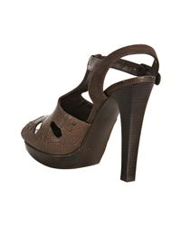 Stuart Weitzman - Brown Leather Teasdale T-strap Platform Sandals - Lyst