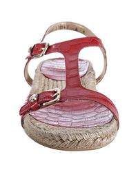 Stuart Weitzman - Red Fire Ghana Leather Lifestyle Croco Embossed T-strap Sandals - Lyst