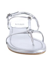 Stuart Weitzman   Metallic Silver Leather Itsybitsy T-strap Sandals   Lyst
