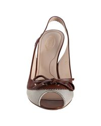 Tod's | Brown Canvas Chanel Coupe Slingbacks | Lyst